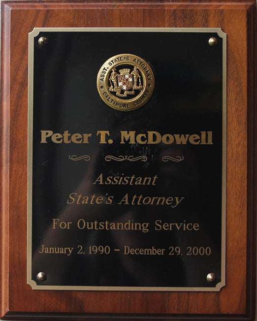 assistant states attorney plaque for outstanding service
